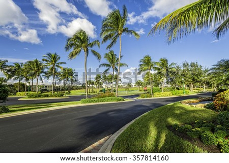 Gated community condominiums in South Florida - stock photo