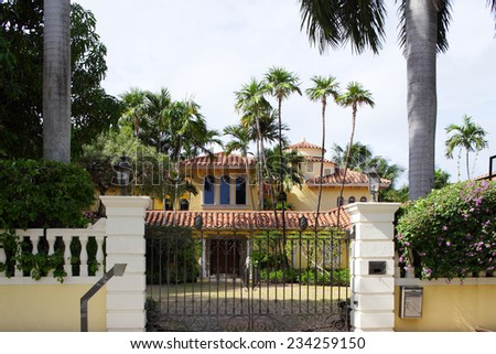 Gated mansion in Miami Beach - stock photo