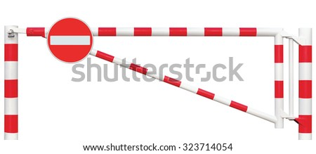 Gated Road Barrier Closeup, No Entry Sign Roadway Gate Bar, White Red Traffic Stop Block Vehicle Security Point Gateway, Isolated Closed Entrance Checkpoint Halt Signage, Restricted Area Warning - stock photo