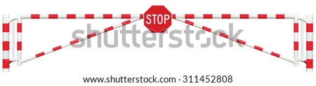 Gated Road Barrier Closeup Octagonal Stop Sign Gate Bar White Red Traffic Entry Stop Security Point Gateway Gated Isolated Closed Entrance Checkpoint Halt Octagon Signage Warning Restricted Area - stock photo