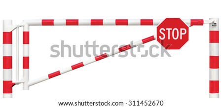 Gated Road Barrier Octagonal Stop Sign Roadway Gate Bar White Red Traffic Entry Stop Block Vehicle Security Point Gateway Gated Isolated Closed Way Checkpoint Halt Octagon Warning Restricted Area - stock photo