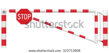 Gated Road Barrier Octagonal Stop Sign Roadway Gate Bar White Red Traffic Entry Stop Block Vehicle Security Point Gateway Gated Isolated Closed Way Checkpoint Halt Octagon Warning Restricted Area