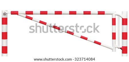 Gated Road Traffic Barrier Closeup, Roadway Gate Bar, White Red Entry Stop Vehicle Security Point Gateway, Isolated Closed Entrance Checkpoint, Locked Restricted Area Padlock - stock photo