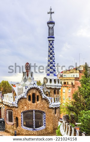 Gatehouse at the main entrance to Park Guell, which were originally designed as the caretaker's house. Barcelona, Spain. Park Guell (1914) is the famous architectural town art designed by Antoni Gaudi - stock photo