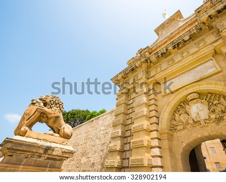 gates to the city of Mdina in Malta - stock photo