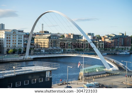GATESHEAD, ENGLAND - AUGUST 6th: Gateshead Millennium Bridge.  The bridge spans the River Tyne in north east England on August 6, 2015.