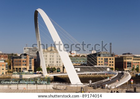 Gateshead Millennium Bridge / Classic view of of the pedestrian bridge showing its name
