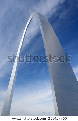 gateway arch in Saint Louis with blue sky and clouds