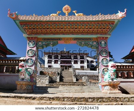 Gateway to Tengboche Monastery, the best monastery in Khumbu valley, trek to Everest base camp, Sagarmatha national park, Nepal - stock photo