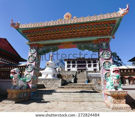 Gateway to Tengboche Monastery, the best monastery in Khumbu valley, trek to Everest base camp, Sagarmatha national park, Nepal - stock photo