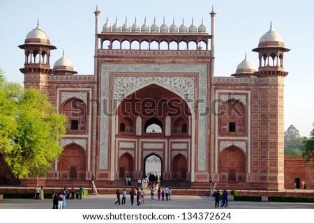 Gateway to the Taj Mahal in Agra. - stock photo