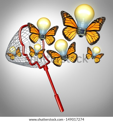 Gather ideas creativity concept with a butterfly net shaped as a human head collecting innovative solutions as a group of flying illuminated light bulbs with insect wings for business success. - stock photo
