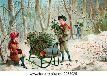 Gathering Christmas Holly - an early 1900's vintage 'Currier and Ives' type illustration