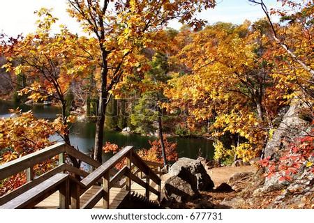 Gatineau Park steep trail - stock photo
