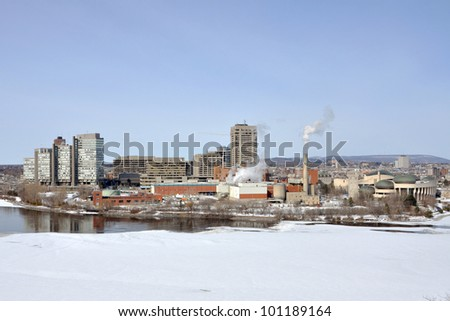 Gatineau skyline winter view, Quebec, Canada. Photo taken from Ottawa Parliament Hill. - stock photo