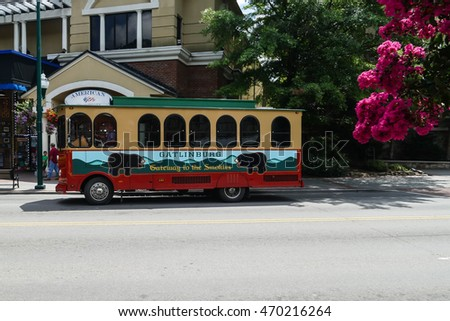 GATLINBURG-AUGUST 8: Transportation for tourists in Gatlinburg, Tennessee, USA on August 8, 2016.
