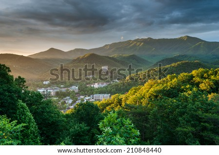 Gatlinburg Tennessee Great Smoky Mountains Sunrise Scenic - stock photo