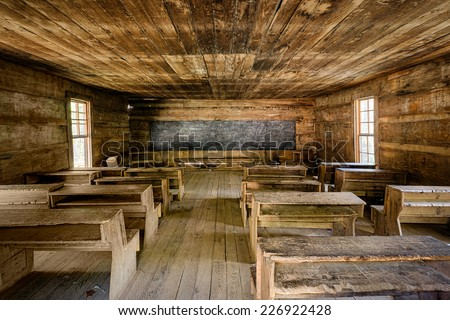 GATLINBURG, TENNESSEE - OCTOBER 20: Little Greenbrier Schoolhouse (1882) on October 20, 2014 in Great Smoky Mountains National Park, Tennessee - stock photo