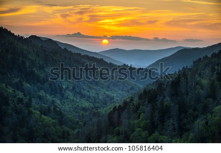 Gatlinburg TN Great Smoky Mountains National Park Scenic Sunset Landscape vacation getaway destination in the Smokies - stock photo
