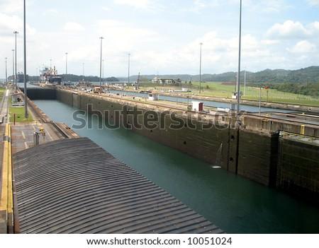Gatun Locks of the Panama Canal - stock photo