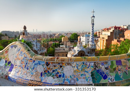 Gaudi bench and cityscape of Barcelona  from park Guell,  Spain - stock photo