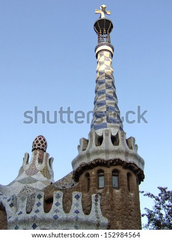 Gaudi Park Guell Barcelona detail gingerbread house - stock photo