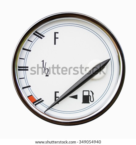 Gauge of level of fuel in the car isolated on white. An arrow indicates empty tank. - stock photo
