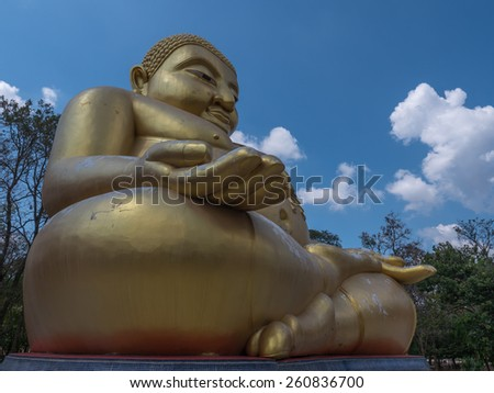 Gautama Buddha or Katyayana or Kasennen, big statue in Buddhist temple in Thailand - stock photo
