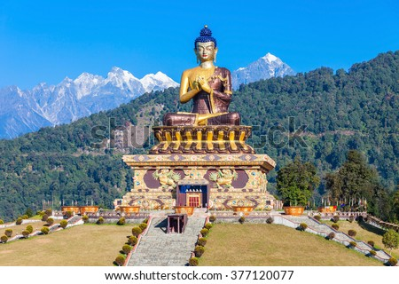 Gautama Buddha statue in the Buddha Park of Ravangla in South Sikkim, India