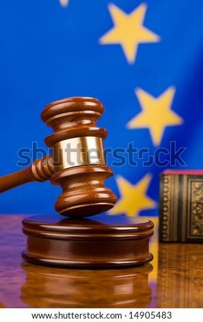Gavel and european union flag - stock photo