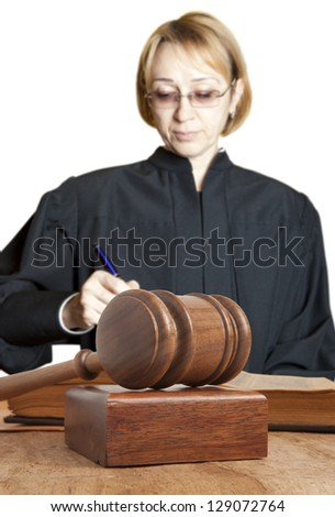 Gavel and female judge - stock photo