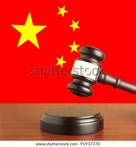 Gavel  and Flag of China - stock photo