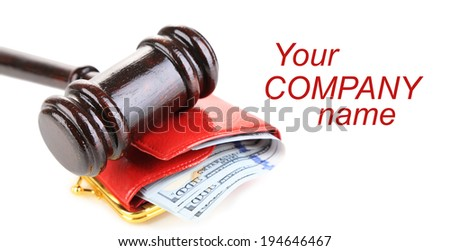 Gavel and money in wallet isolated on white