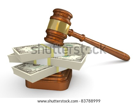 Gavel and money stack. High detailed 3d illustration - stock photo