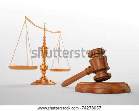 Gavel and scales - justice concept - stock photo