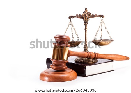 Gavel, antique bronze scales and book on white background - stock photo