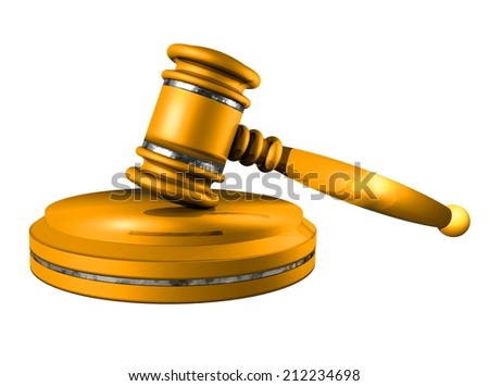Gavel. Auction hammer. Golden gavel on a stand, on a white background. 3d illustration.  - stock photo