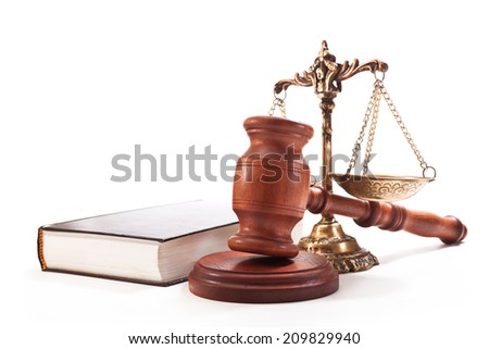 Gavel, book, antique bronze scales on a white background - stock photo