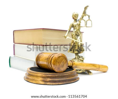 gavel, books and a statue of justice isolated on white background - stock photo