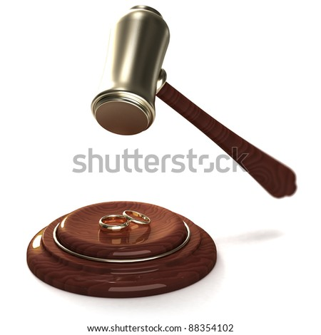Gavel breaking golden rings as a divorce, on white - stock photo