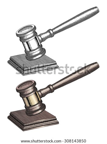 Gavel - Hand Drawn is an illustration of a gavel used by court judges and other symbols of authority. In both black and white and color. - stock photo