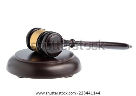 gavel judge isolated on white background - stock photo
