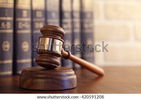 Gavel leaning against a row of law books