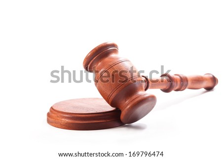 Gavel on a white background - stock photo