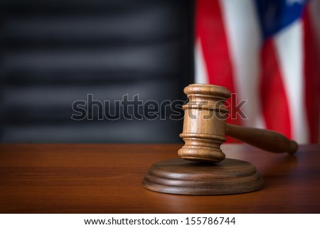 Gavel on court desk  - stock photo