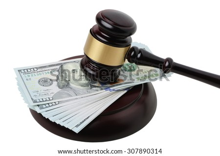 Gavel on dollar banknotes