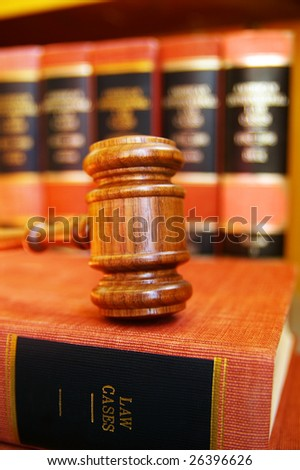 gavel on law books - stock photo