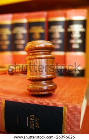 gavel on law books - stock photo