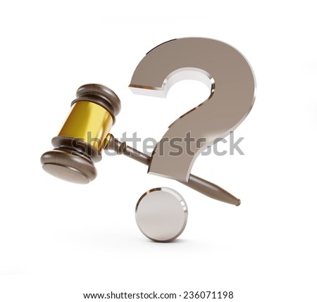 gavel question mark on a white background  - stock photo