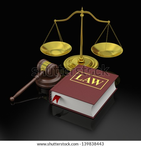 Gavel, scale and law book, symbols of law and justice